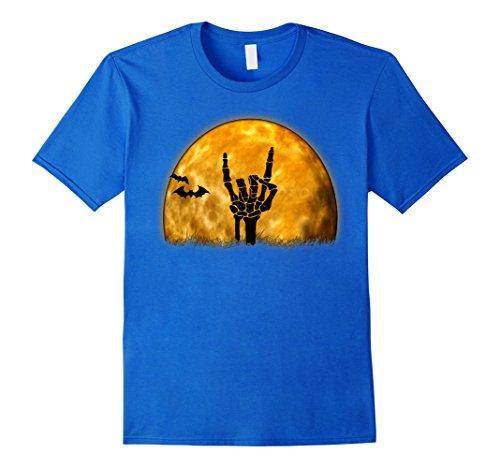 Rock'n Royals Costume (Mens Funny Rock n Roll Halloween Skeleton Grave Hand and Moon Tee Medium Royal Blue)