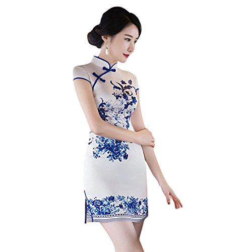 Elegante Floral Vestido Seda Style Cheongsam de Qipao Hzjundasi Corto noche Retro Impreso 07 Slim Chino Mujer dwqC7f8