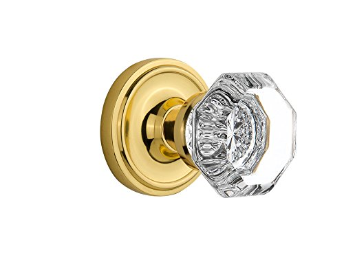 Nostalgic Warehouse Classic Rosette with Waldorf Crystal Door Knob, Single Dummy, Polished ()