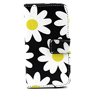 zxc White Flowers Pattern PU Leather Case with Stand for Samsung Galaxy S5 MINI