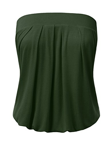 DRESSIS Wowen's Solid Natural Pleated Tube Top OLIVE 2XL (Summer Tube Top)