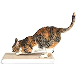 4CLAWS Flat Scratching Pad (2 Pack, White) - BASICS Collection Cat Scratcher