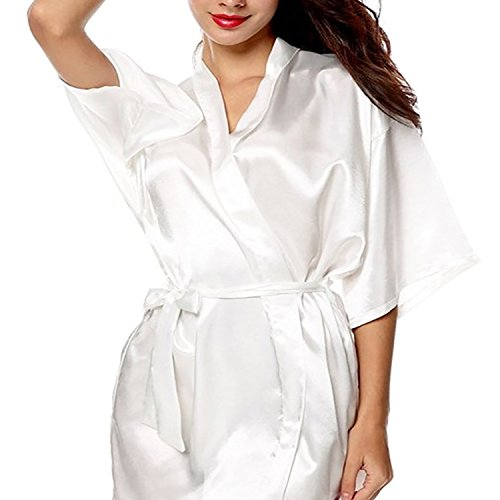 - Gifts Are Blue Womens Short Kimono Solid Satin Lounge Robe, XLarge, White
