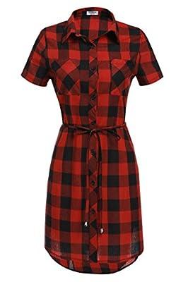 HOTOUCH Women Short Sleeve Belted Button Down Plaid Tunic Shirt Dress