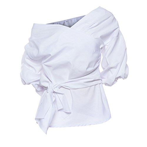 Blanc Chemiser Chemise Shirts Nue Longues Sexy Pull Femmes Automne Manches Col Casual Blouse LAEMILIA Epaule Tops V 4wURqaS