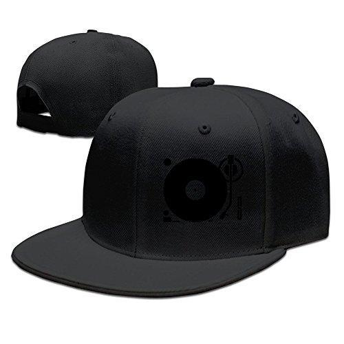 Custom Unisex Black Adjustable Cool Headphones Record Disc Platter Disk Dj Play Vinyl Spin Snapback Flat Hip-hop Hat One (Nightlife Mesh Cap)