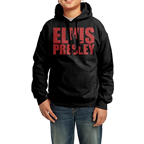 Priscilla Presley And Elvis Costumes - YHTY Youth Unisex Hooded Sweatshirt Elvis Presley Black Size M