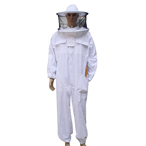 Luwint Adult Full Body Beekeeping Suits – Round Fencing Veil Hood Cotton Ventilated Bee Beekeeper Suit for Men Women (XXL) by Luwint