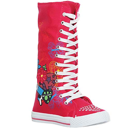 New Canvas Sneakers Flat Tall Punk Skate Shoes Lace up Knee High Boots for Kids(12, Fuchsia)[Apparel]