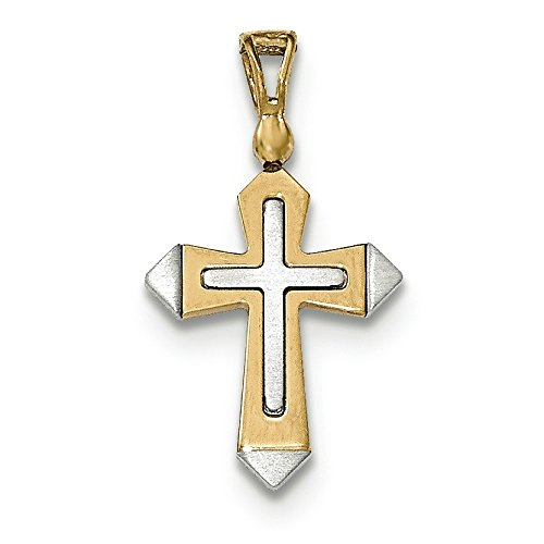 Or bicolore 14carats avec pendentif croix poli et brossé