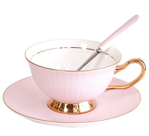 NDHT Bone China Teacups/Coffee Cups & Saucers Sets with Spoons-10.2Oz, for Home, Restaurants, Display & Holiday Gift for Family or Friends,Pink,With Gift (Holiday Cup Saucer)
