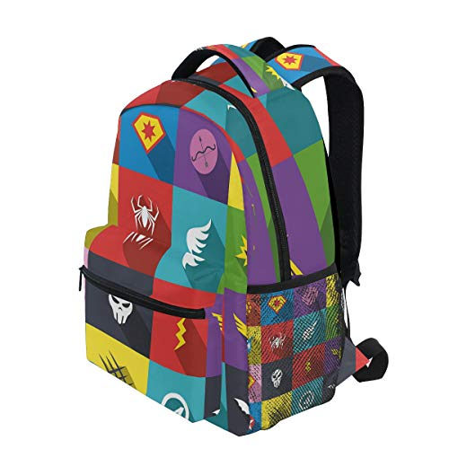 KVMV Superhero Badge Patchwork Style Several Logo Signs Comic Humor Lightweight School Backpack Students College Bag Travel Hiking Camping Bags