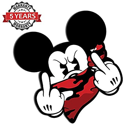 2 x PVC Stickers Mickey Mouse Middle Finger B 32: Toys & Games