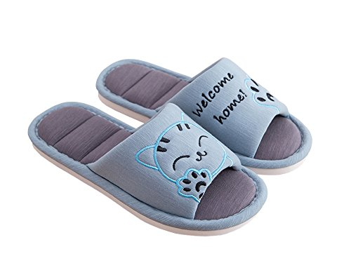 Shoes House Slip Home Toe Cute Slippers Soft Cat On Open Cotton Cliont Blue Indoor Women's BPOw7nxCqz