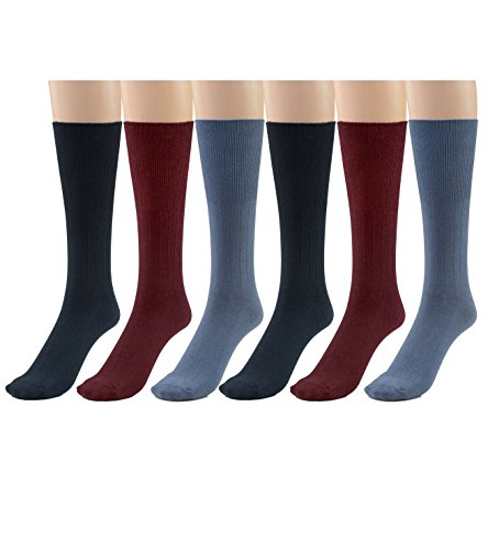 Silky Toes 3 or 6 Pk Men's Diabetic Non-Binding Cotton Dress Socks, Multi Colors Also Available in Plus Sizes… (King (15-17), Navy/Dusk Blue/Burgundy - 6 ()