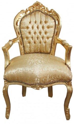 Casa Padrino Barock Esszimmerstuhl Gold Muster Gold mit Armlehne Barock Möbel Antik Stil