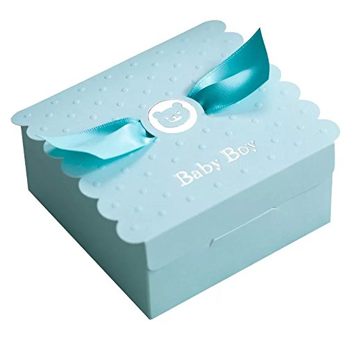 Floratek 30 PCS Baby Shower Favors Cute Baby Boy Angel Wings Designed Chocolate Packaging Box Candy Box Gift Box for Kids Birthday Baby Shower Guests Wedding Party Supplies (Baby -