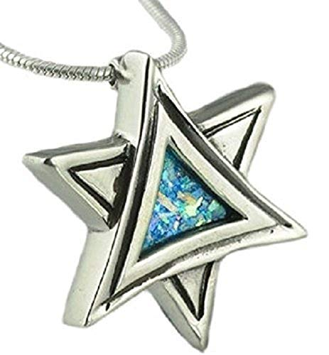- Baltinester Jewish Jewelry Sterling Silver Unique Star of David Roman Glass Necklace Pendant with Silver Chain