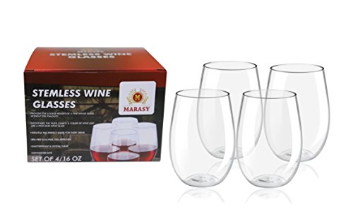 Deluxe 4-Pcs Set Of 16 Oz. Tritan Stemless Unbreakable Wine Glasses By MARASY Crystal Clear Shatterproof Drinking Cups – BPA, EA-Free & Dishwasher Safe – Ideal For Parties BBQs Camping