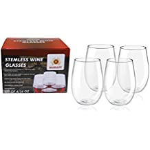 Deluxe 4-Pcs Set Of 16 Oz. Tritan Stemless Unbreakable Wine Glasses By MARASY , Crystal Clear Shatterproof Drinking Cups , BPA, EA-Free - Dishwasher Safe , Ideal For Parties, BBQs - Camping