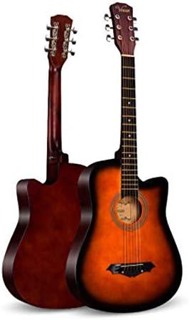 アコースティックギター アコースティックギター初心者男性と女性のエントリ学生大人の木製ギター 楽器の贈り物 (色 : Sunset color, Size : 38 inches)