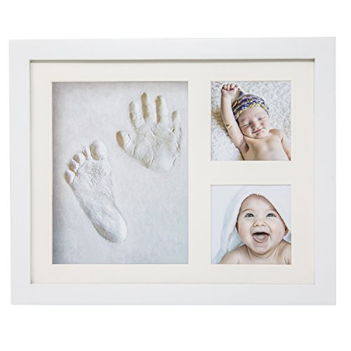 Handprint Footprint Memory Kit by Little's Comfort - Personalized Clay Keepsake with Wooden Picture Frame-for Newborn Infants, Kids, Adults, Family or Pets-Baby Shower Gift-Photo Decoration-Non Toxic