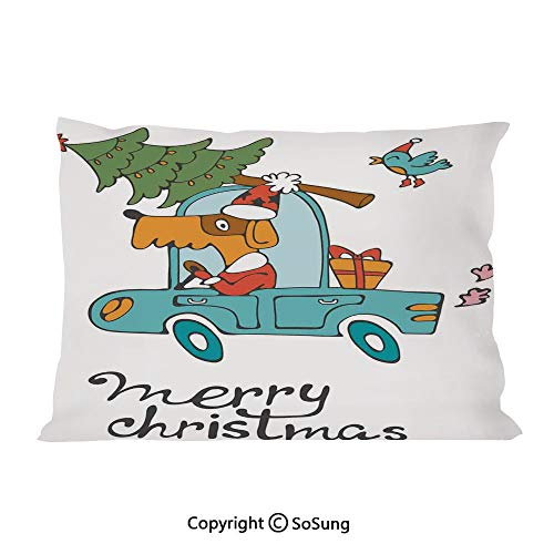SoSung Christmas Bed Pillow Case/Shams Set of 2,Blue Vintage Car Dog Driving with Santa Costume Cute Bird Tree and Gift Present King Size Without Insert (2 Pack Pillowcase 36