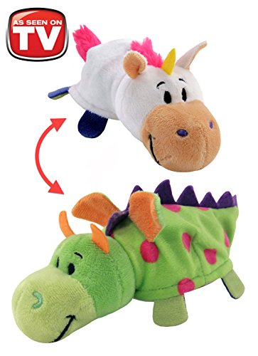 "FlipaZoo's Little FlipZee 5"" Pocket Size Plush Figure - Unicorn Transforming To Dragon (the Toy That Flips For You)"