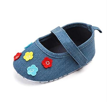 KINGDUO Jeans Fleur Bébé Princesse Chaussures Bébé Chaussures Bas Non-Slip Chaussures Bébé Chaussures-Rouge 12