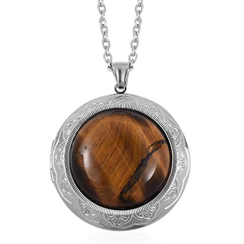 Tigers Eye Locket Chain Pendant Necklace for Women 24