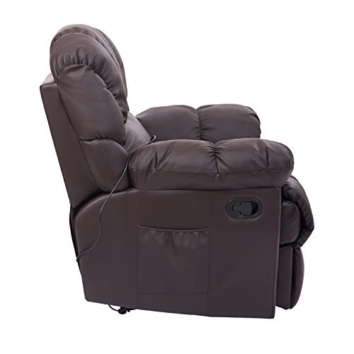 HomCom PU Leather Vibrating Massage Sofa Chair Recliner - Brown
