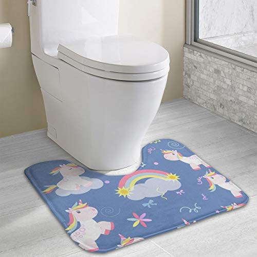 Dbou Seamless Art Print Cute Unicorn U-Shaped Absorbs Moisture Non Slip Bathroom Rugs Toilet Carpet Floor Mat, 15.8