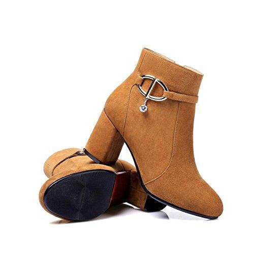 pelle ginnastica da alti pelle Scarpe yellow in donna 7cm Scarpe Martin Giallo vera Best Nero tacchi 4U® alti Stivali da Stivali caviglia di Ewq8xYA