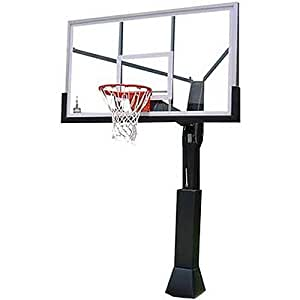 Barbarian 72 Inch Adjustable Glass In Ground Basketball System In Ground
