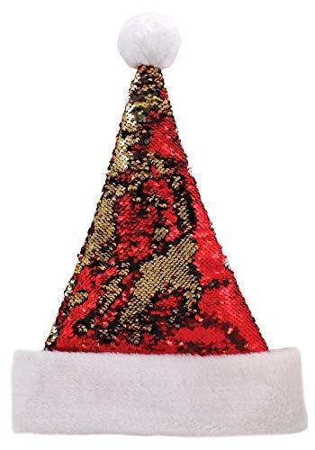 doble hombres mujeres humor de de fiesta Novedad Bonnet cara de y sirena Claus disfraces rojo lentejuelas dorado para Santa 5Ow6qR