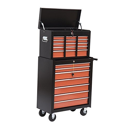 HomCom Rolling Tool Chest Cabinet with 16 Drawers, Black and Orange