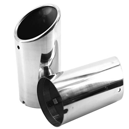 Shiwaki 2 Pack Car Exhaust Tail Throat Muffler Tip Pipe Chrome Round Fit 2.8-inch For Audi A4 2009-2012 Silver