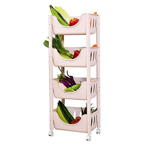 ction Adjustable Cart Fruit Bread Basket Shelf Kitchen Storage Shelving Unit Rack (Pink, 4-Tier) ()