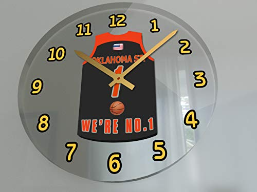FanPlastic College Basketball USA - We're Number ONE College Hoops Wall Clocks - Support Your Team !!! (Oklahoma State Cowboys)