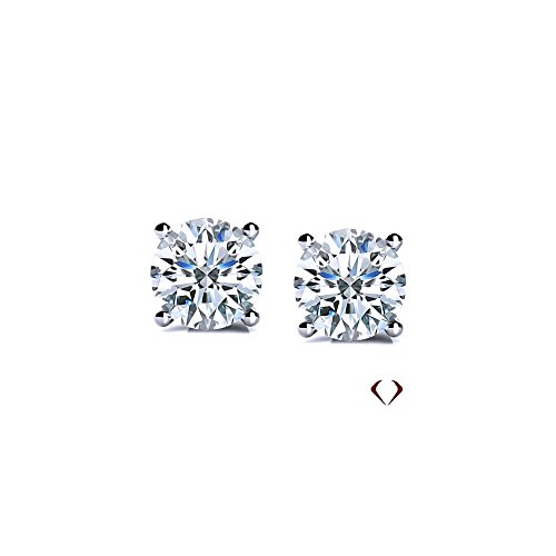 AGI 4.02CT F SI1 Ex Ex Ex Round Cut Diamond Stud Earrings 14K White Gold ()