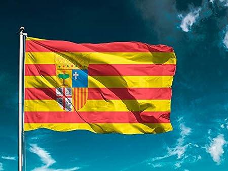 G1 | Bandera Comunidad Aragón | Bandera Ciudades/Comunidades | Medidas 150cm x 85 cm | Fácil colocación | Decoración Exteriores (1 Unidad): Amazon.es: Hogar