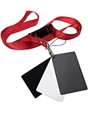 Camnoon Black White 18% Gray Color Balance Cards Digital Grey Card with Neck-Strap DSLR Camera White Balance Card Photography Accessory