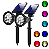 Lepord 2 SETS 7 LED Solar Spotlights Outdoor Solar Lights Waterproof Color Spot Lights for Garden Landscape Spotlights Dark Sensing Auto On/Off Solar Up Lights For Yard Patio Lawn