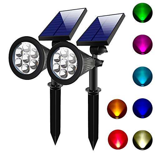 Lepord 2 Sets 7 LED Solar Spotlights Outdoor Solar Lights Waterproof Color Spot Lights for Garden Landscape Spotlights Dark Sensing Auto On/Off Solar Up Lights for Yard Patio Lawn (Light Garden Set)