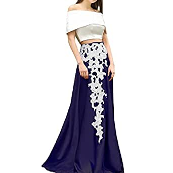 Honey Qiao Women's Maxi Skirts Satin Floor Length with Appliques Prom Party.