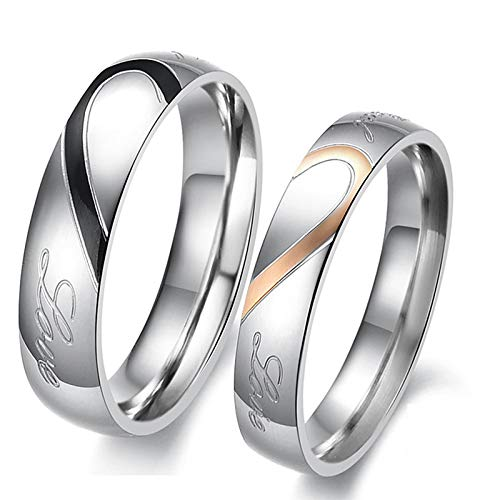 KnSam Couple Ring Stainless Steel Half Heart Shape and Word Black Rose Gold Women Ring Size 7 & Men Ring Size 10