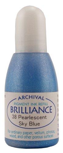 Brilliance Dew Drop Pigment Ink - Tsukineko 20 cc Brilliance Pigment Inker, Re-Ink Brilliance Inkpads and Dew Drops, Pearl Sky Blue