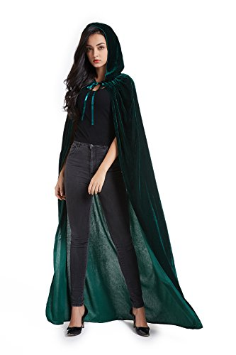Crizcape Unisex Halloween Costume Cape Hooded Velvet Cloak for Men and Womens Green]()