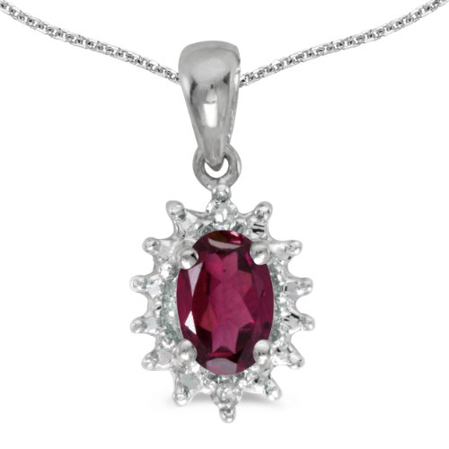 0.49 Ct Princess Shape - 0.49 Carat (ctw) 14k White Gold Oval Red Rhodolite-Garnet and Diamond Women's Solitaire with Halo Pendant with 18