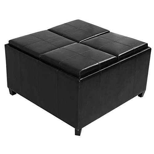 Giantex Black/brown 4-tray-top Ottoman Storage Table Pu Leather Bench Coffee Fruit (Black)